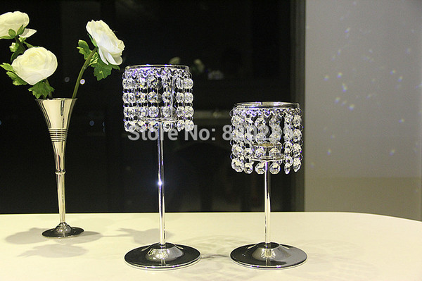 Free shipping Metal silver finish crystal candle holder wedding candelabra, centerpiece X-mas decoration,1 set=1 big + 1 small