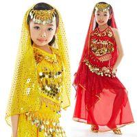 Wholesale Yellow Dance Bra Top - 2pcs set Children Belly Dance Costume Suit (Coins Top Bra + Sequins Skirt) Stage Dancing Apparel Set tsc02s2