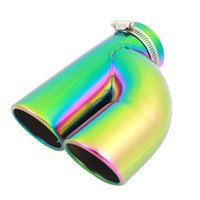 Muffler oval muffler - Car Stainless Steel Oval Dual Outlet Exhaust Muffler Tip Pipe for NEW LAVIDA