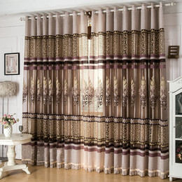 Wholesale Screens For Doors - New arrival window screen curtain finished product luxury curtain for living room embroidered tulle +blackout curtain