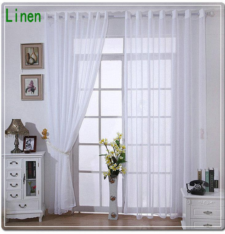new arrival linen tulle voilesheer curtains for home white cream solid color no pattern window finishing bead curtain plum curtains from bigmum