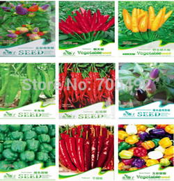 Wholesale Pepper Pots - 9 kinds of chili seeds Vegetable seed pepper, super hot pepper, chili powder seeds Family garden, potted balcony