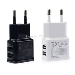 Wholesale moto usb - Dual USB EU Wall charger Adapter AC Chargers 5V 2A for Samsung iPhone HTC MOTO Perfect