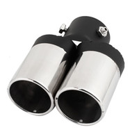 Wholesale Car mm Dia Dual Outlet Rolled Exhaust Muffler Tip Pipe Silver Tone Black
