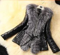 Wholesale Womens Leather Parka Coats - New Autumn Winter Womens Warm Faux Fur Wool Collar Coat PU Leather Short Jacket Outwear Overcoat Cotton Parka Black