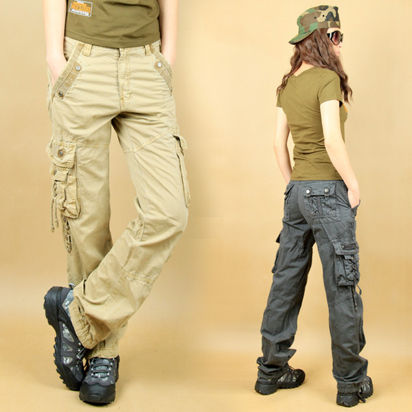 2019 High Quality Plus Size 4XL Canvas Overall Trousers Multi Pockets Cargo  Pants Women Man Army Fatigue Pants Loose Outdoor Hiking Pants 33 From ...