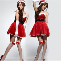 Wholesale Sexy Girl Santa Lingerie - Girls Santa Dress Sexy Lingerie Stage Costume with Santas Cap Belt Stockings Gloves Red Christmas Halloween Party Clothing Sexy Nightware