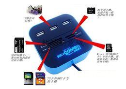Lector mp online-All In One 3 puertos Extend USB 2.0 Hub Combo SD / MMC / M2 / MS MP-Lector de tarjetas múltiples