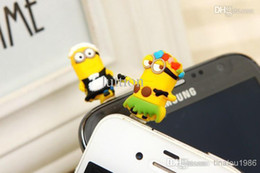 Wholesale Despicable Earphones - phone dust plug Despicable Me 2 Apple Samsung phone headset dustproof plug anti-dust stopper little Minion burst models