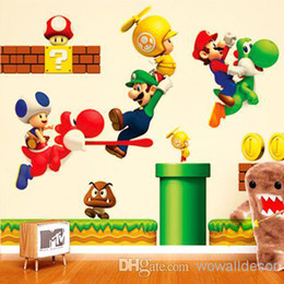 Wholesale Live Mario - Super Mario Bros Cartoon Removable Wall Stickers for Kids Baby Rooms Decoration Adesivo De Parede Home Decor Art Decals Poster