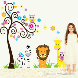 Wholesale Giraffe Animal Stickers - Owl Wall Sticker for Kids Rooms Decoration Giraffe Anime Poster Tree Baby Wall Stickers Decals Home Decor Zebra Wallpaper Kid