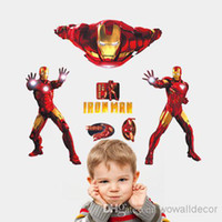 Wholesale Bedroom Design Men - Iron Man Cartoon Child Baby Wall Stickers for Kids Room Removable Wall Paper Nursery Wall Decal Home Decor Movie Poster Adhesive