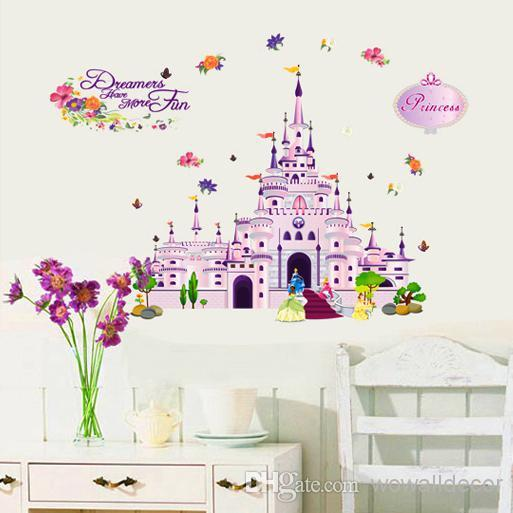 Removable Pvc Large Purple Cartoon Princess Castle Wall Sticker - Wall stickers for girls