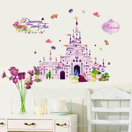 Wholesale Wall Decals Baby Girl - Removable PVC Large Purple Cartoon Princess Castle Wall Sticker for Girls Baby Room Decorative Wall Decal Home Decoration Wall Art