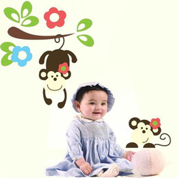 Wholesale Paper Wallpaper Baby - Cartoon Jangle Monkey Wall Decals Baby Wall Stickers for Kids Rooms Home Decor Anime Poster Photo Wallpaper Kids Wall Paper Adhesive