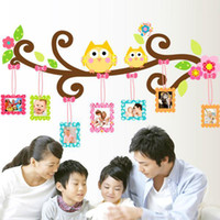 Wholesale Cartoons Photo Frame Design - Large PVC Owl Wall Sticker with Photo Frame Home Decoration Love Family Tree Photoframe Decorative Wall Decal Art Poster Wallpaper Kids
