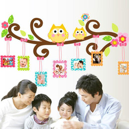 Wholesale Large Owl Wall Sticker - Large PVC Owl Wall Sticker with Photo Frame Home Decoration Love Family Tree Photoframe Decorative Wall Decal Art Poster Wallpaper Kids