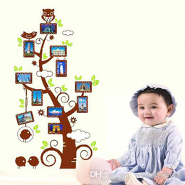 Wholesale Baby Photo Frame Cartoon - Removable Family Tree Wall Decal Photo Frame Pictures Owl on Trees Wall Sticker for Kids Baby Home Decor Sticker Wallpaper Kids