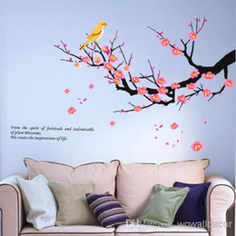 Wholesale Blossom Tree Sticker - Removable PVC Pink Plum Blossom Decorative Wall Decal Birds on Wintersweet Tree Wall Sticker Flower Home Decoration Wall Art Quote