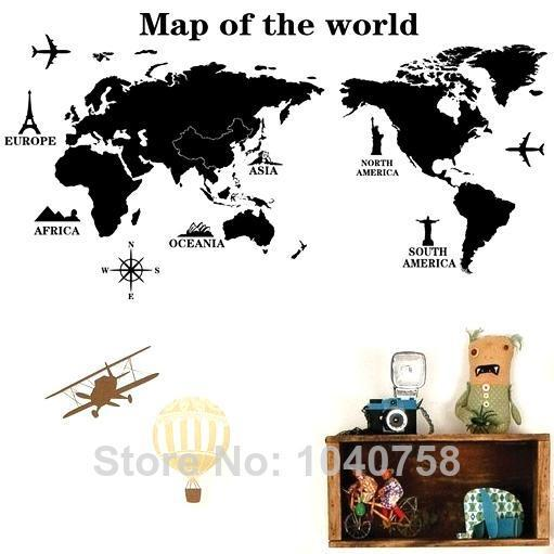 Removable pvc large world map wall sticker poster home decoration removable pvc large world map wall sticker poster home decoration living room map of world decorative wall decals bedroom wall paper art owl wall decals owl gumiabroncs Images