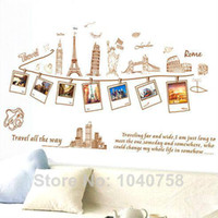 Wholesale Travel World Map Wall Decals - PVC Removable Large Wallpaper World Map Wall Sticker Poster Home Decoration Travel Photo Frame Wall Decals Wall Paper Art