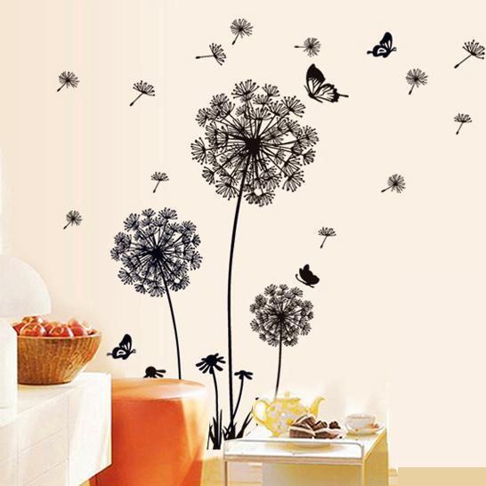 Removable Pvc Dandelion Wall Stickers Living Room,Flower Decorative Wall  Decal, Kids Home Decoration Butterfly Wall Art Poster Decals For Home  Decorating ...