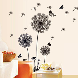 Wholesale Decorative Wall Decals Butterfly - Removable PVC Dandelion Wall Stickers living Room,Flower Decorative Wall Decal, Kids Home Decoration Butterfly Wall Art Poster