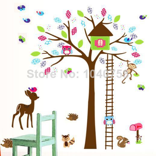 Deer Owl Tree Wall Stickers For Kids Nursery Baby Rooms ...