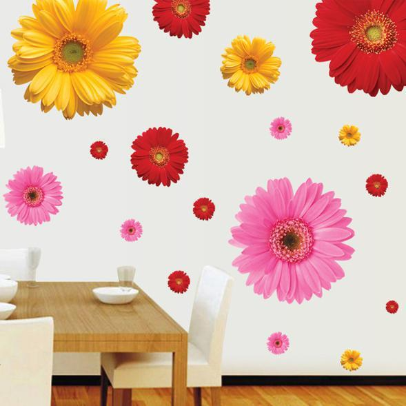 large paper daisy flowers wall stickers home decoration decorative wall decals for living room wallpaper kids wall art decoration wall stickers decorative - Flower Wallpaper For Home