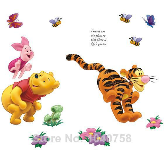 Large Removable Pvc Cartoon Winnie The Pooh Wall Stickers For Kids Room  Piglet Tigger Wall Decal Art Anime Poster Home Decor Wallpaper Kids Wall  Art ...
