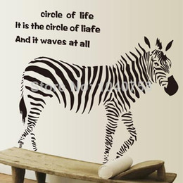 Wholesale Country Quotes - Large PVC Zebra Wall Sticker Living Room Anime Poster Animal Decorative Wall Decals Quotes Home Decoration Wall Art Removable Wallpaper