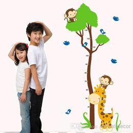Wholesale Growth Chart Monkey - Tree Height Wall Stickers for Kids Rooms Growth Chart Giraffe Monkey Tree Wall Decals for Nursery Photo Wallpaper Home Decor Wall Art