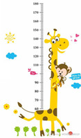 Wholesale Height Measurement Stickers - Growup Monkey Giraffe Animals Height Measurement Growth Chart flowers Sticker for Kids Room Removable Vinyl Mural Art Wall Decal