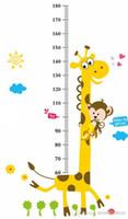 Wholesale Monkey Height Chart - Growup Monkey Giraffe Animals Height Measurement Growth Chart flowers Sticker for Kids Room Removable Vinyl Mural Art Wall Decal