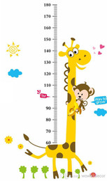 Wholesale Height Chart Removable Wall Sticker - Growup Monkey Giraffe Animals Height Measurement Growth Chart flowers Sticker for Kids Room Removable Vinyl Mural Art Wall Decal