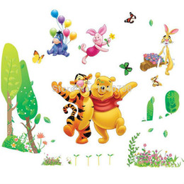 Wholesale Tigger Pooh Wall - Large Removable PVC Cartoon Winnie the Pooh Wall Stickers for Kids Home Decoration Piglet Tigger Wall Decal Art Anime Poster Wall Paper Kids
