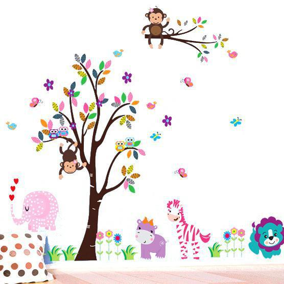 Colorful Tree Wall Stickers Moneky Giraffe Animal Decorative Wall Decals  Home Decoration For Kids Nursery Baby Rooms Wall Art Wallpaper Kids Wall  Decorative ... Part 91