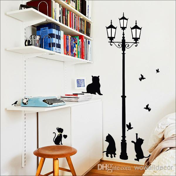 PVC Removable Vintage Lamp Wall Stickers Cat Home Decoration for Kids  Children Room, Cartoon Decorative