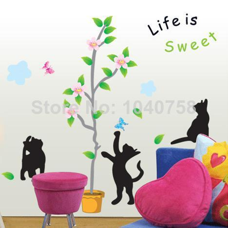 Flower Pots Plants Tree Wall Decals For Kids Room, Cat Wall Sticker Home  Decoration Wall Art Wallpaper Kids Sweet Life Quotes Sticker Decorations  For Walls ... Part 89
