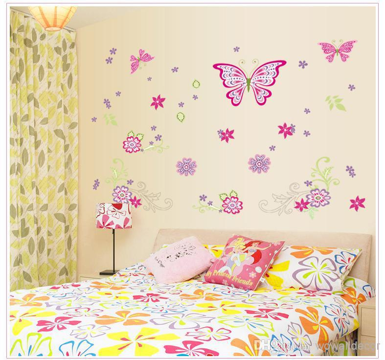 Large Paper Flowers Decorative Butterfly Wall Stickers Home Decor