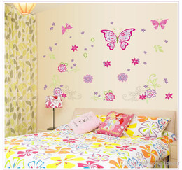 Wholesale Floral Wall Decals - Large Paper Flowers Decorative Butterfly Wall Stickers Home Decor Poster Flower Decoration TV Floral Wall Decals Art