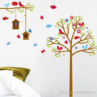 Wholesale Decorative Flowers For Kids Room - Birds and Nest Flower Tree Wall Stickers for Kids Baby Room Home Decoration Butterfly Cartoon Decorative Wall Decals PVC Wall Art
