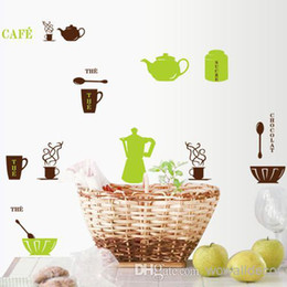 Wholesale Kitchen Tile Decals - Cafe Kitchen Wall Stickers Home Decoration Wall Art Decorative Wall Decal for Tile Fridge