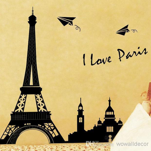 Paris Decals Wall Art pvc large paris eiffel tower decorative wall decals home