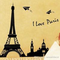 Wholesale Large Paris Art - PVC Large Paris Eiffel Tower Decorative Wall Decals Home Decoration, Silhouette Love Paris Wall Art Stickers, Cityscape Quotes Poster