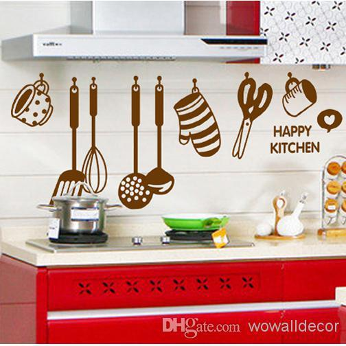 Acquista Happy Kitchen Ware Wall Stickers Home Decoration Tile ...