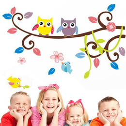 Wholesale Decals Murals Bird - Cartoon Bird Baby are Owl Wall Sticker Mural Owl Tree Wall Decal Art Adhesive for Kids Rooms Decoration Adesivo De Parede Poster