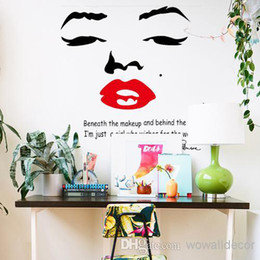 Wholesale Marilyn Monroe Large Wall Sticker - Large Marilyn Monroe Wall Decals for Girl Room Decorations PVC Wall Stickers Quotes Home Decor Photo Wallpaper Wall Art Poster