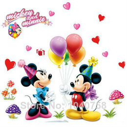 Wholesale Wholesale Minnie Mouse Stickers - Removable PVC Large Cartoon Mickey Mouse Wall Sticker Minnie Mouse Room Decor Wall Decal Bedroom Poster Wall Art Wallpapaer Kids