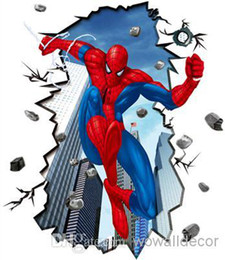 Wholesale Spiderman Wall Decals Decorations - Large Matte PVC Amazing Jump Spiderman Wall Stickers for Kids Nursery Decorative Wall Decal Cartoon Movie Poster Home Decoration Wall Art
